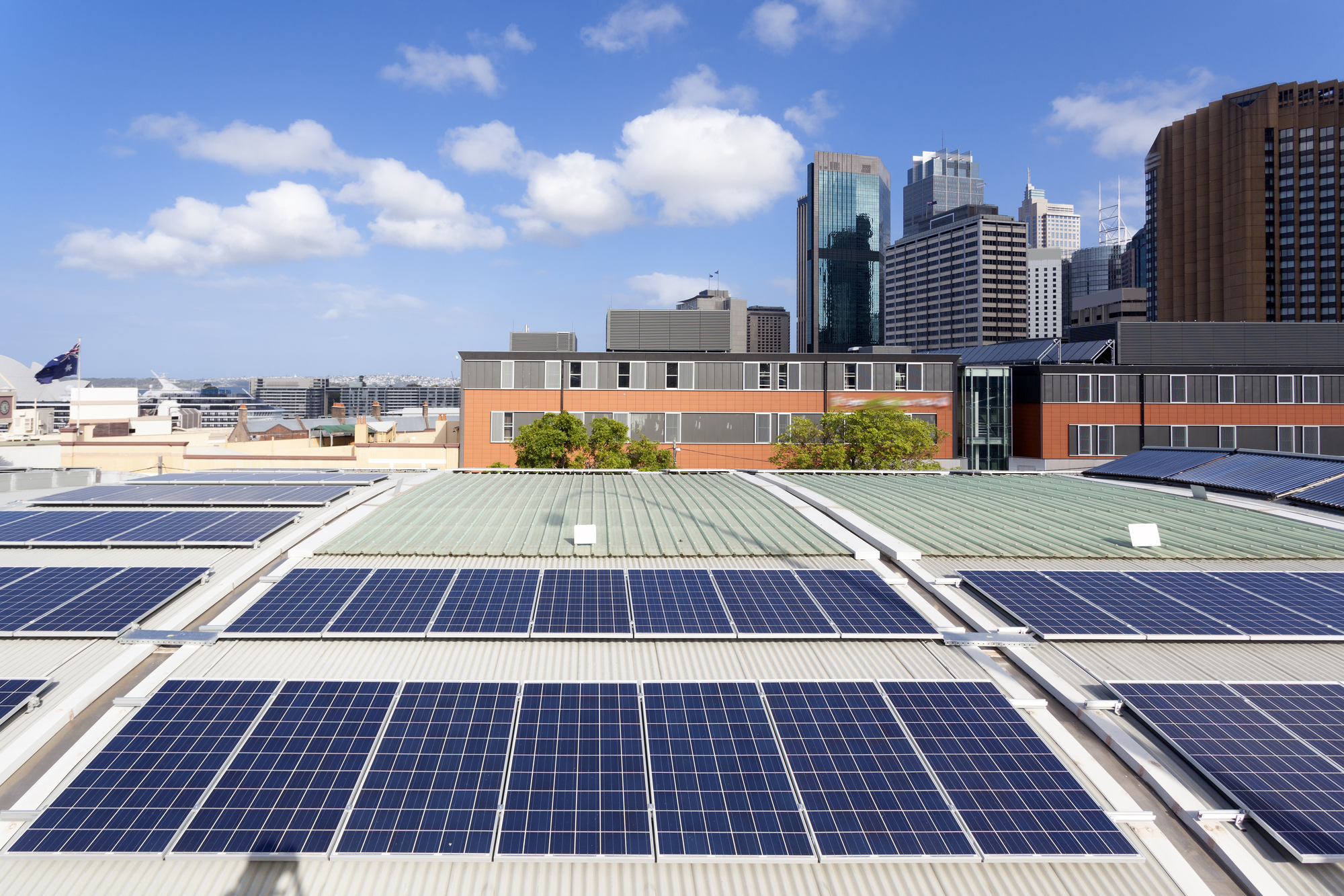 Commercial Solar Panels On Flat TPO Roof Improve Building Energy Efficiency