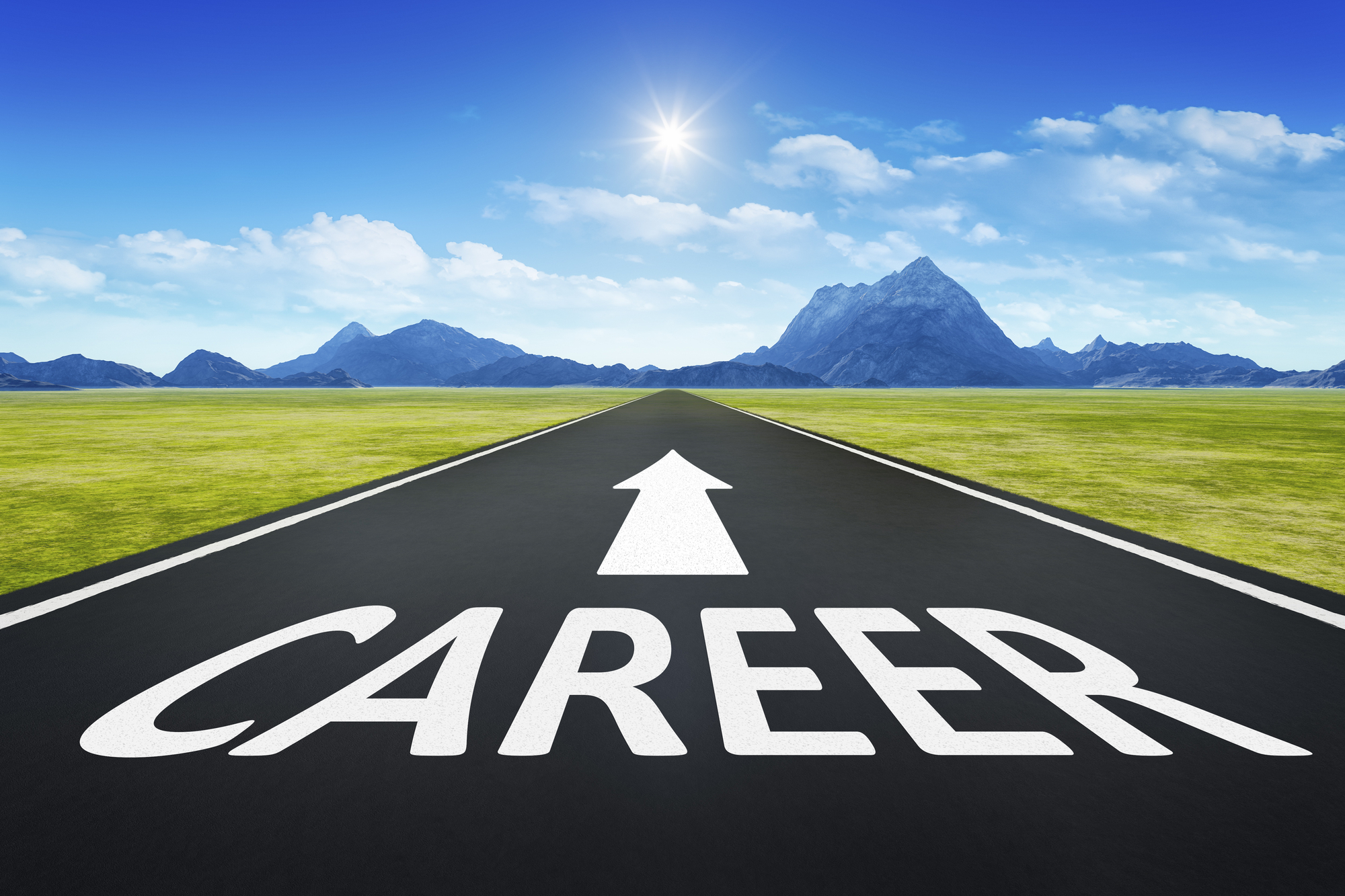 Property Management Career Paths On Paved Road With Arrow Through Desert