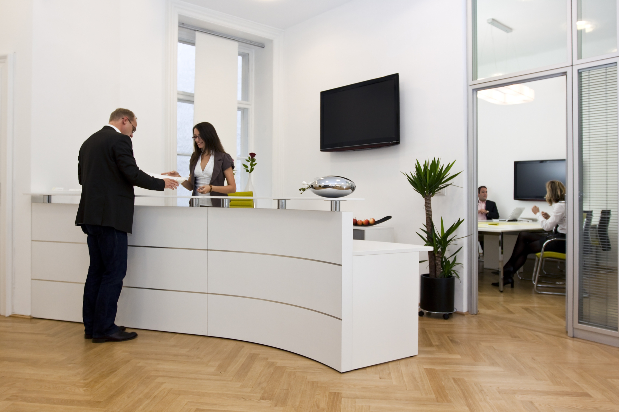 Reception Desk With Concierge In Office Building For Property Manager Insider