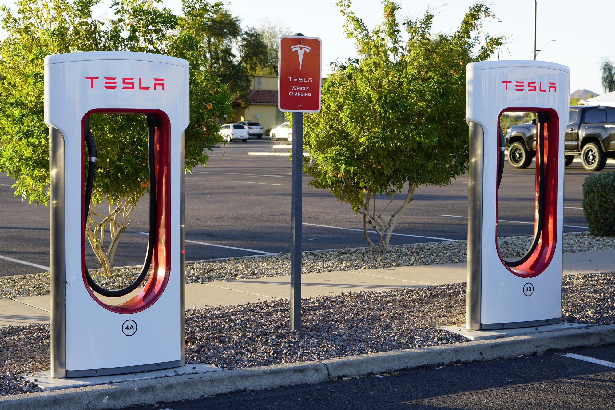 Tesla Charging Stations At Commercial Property